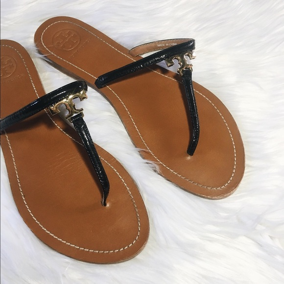 12c1a946f003ab Tory Burch  T  Logo Leather Thong Sandal Black. M 5aa09a89daa8f62ec00443cf